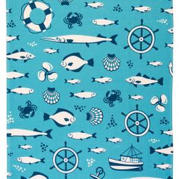 Ręcznik średni - 50x100 - Bałtyk symbole - niebieski