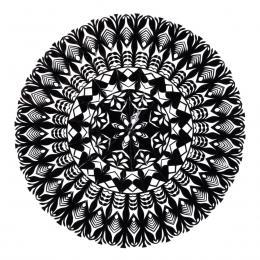 Średnia okrągła wycinanka kurpiowska - wzór 4 - czarna