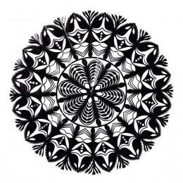 Średnia okrągła wycinanka kurpiowska - wzór 1 - czarna