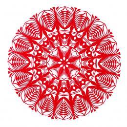 Średnia okrągła wycinanka kurpiowska - wzór 6 - czerwona