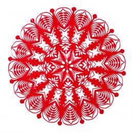 Średnia okrągła wycinanka kurpiowska - wzór 10 - czerwona