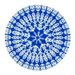 Średnia okrągła wycinanka kurpiowska - wzór 11 - niebieska