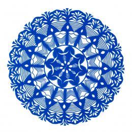 Średnia okrągła wycinanka kurpiowska - wzór 12 - niebieska