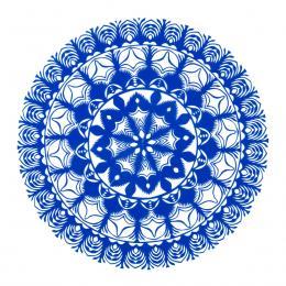 Średnia okrągła wycinanka kurpiowska - wzór 13 - niebieska