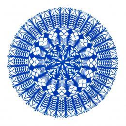 Średnia okrągła wycinanka kurpiowska - wzór 14 - niebieska