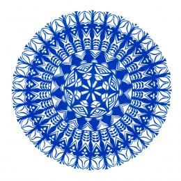 Średnia okrągła wycinanka kurpiowska - wzór 15 - niebieska