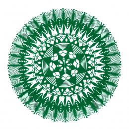 Średnia okrągła wycinanka kurpiowska - wzór 16 - zielona