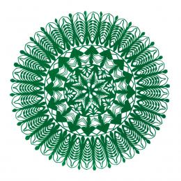 Średnia okrągła wycinanka kurpiowska - wzór 17 - zielona