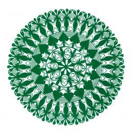 Średnia okrągła wycinanka kurpiowska - wzór 18 - zielona