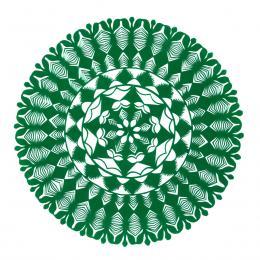 Średnia okrągła wycinanka kurpiowska - wzór 19 - zielona