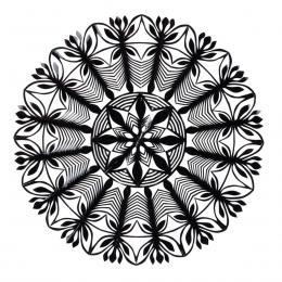 Średnia okrągła wycinanka kurpiowska - wzór 2 - czarna