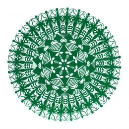 Średnia okrągła wycinanka kurpiowska - wzór 20 - zielona
