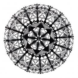 Średnia okrągła wycinanka kurpiowska - wzór 3 - czarna