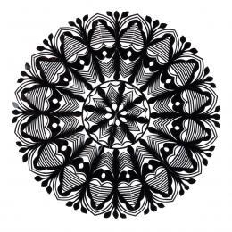 Średnia okrągła wycinanka kurpiowska - wzór 5 - czarna