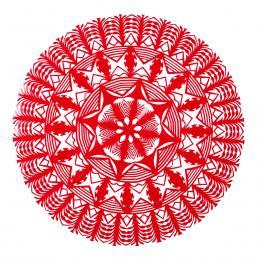 Średnia okrągła wycinanka kurpiowska - wzór 7 - czerwona