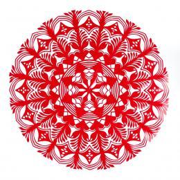 Średnia okrągła wycinanka kurpiowska - wzór 8 - czerwona