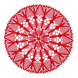 Średnia okrągła wycinanka kurpiowska - wzór 9 - czerwona