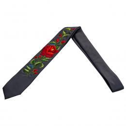 Szary haftowany krawat z czerwoną różą z pączkami