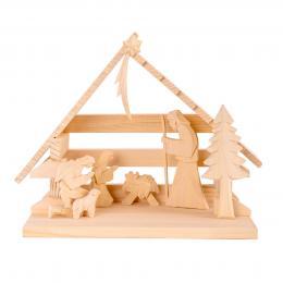 Tradycyjna rzeźba ludowa - SZOPKA BETLEJEMSKA jasne drewno | duża