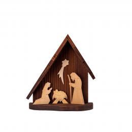 Tradycyjna rzeźba ludowa - SZOPKA BETLEJEMSKA trójkąt brązowa | mała