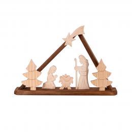 Tradycyjna rzeźba ludowa - SZOPKA BETLEJEMSKA trójkąt brązowa