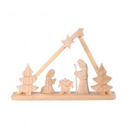 Tradycyjna rzeźba ludowa - SZOPKA BETLEJEMSKA trójkąt jasne drewno