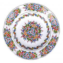 Talerz głęboki ręcznie malowany duży - ceramika opolska