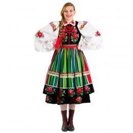 Strój łowicki damski - WEŁNIAK LUDOWY - pasy zielono - czerwone