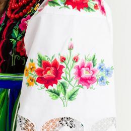 Koszula łowicka - BIELONKA - damski strój ludowy - kwiatuszki żółte
