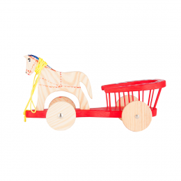 Tradycyjna zabawka ludowa - drewniana bryczka - czerwona
