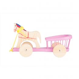 Tradycyjna zabawka ludowa - drewniana bryczka - fioletowa
