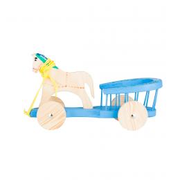 Tradycyjna zabawka ludowa - drewniana bryczka - niebieska