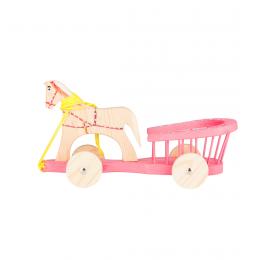 Tradycyjna zabawka ludowa - drewniana bryczka - różowa