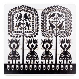 Drewniane FOLK puzzle - wzór kurpiowski