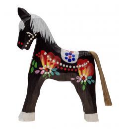 Tradycyjna zabawka ludowa - ręcznie rzeźbiony konik - duży - czarny
