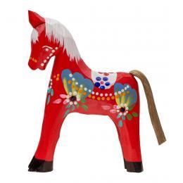 Tradycyjna zabawka ludowa - ręcznie rzeźbiony konik - duży - czerwony