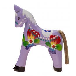 Tradycyjna zabawka ludowa - ręcznie rzeźbiony konik - duży - fioletowy