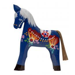 Tradycyjna zabawka ludowa - ręcznie rzeźbiony konik - duży - granatowy