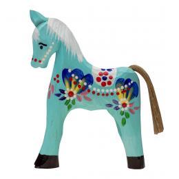 Tradycyjna zabawka ludowa - ręcznie rzeźbiony konik - duży - niebieski