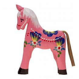 Tradycyjna zabawka ludowa - ręcznie rzeźbiony konik - duży - różowy