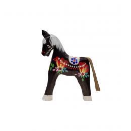 Tradycyjna zabawka ludowa - ręcznie rzeźbiony konik - mały - czarny