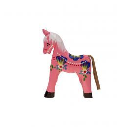 Tradycyjna zabawka ludowa - ręcznie rzeźbiony konik - mały - różowy