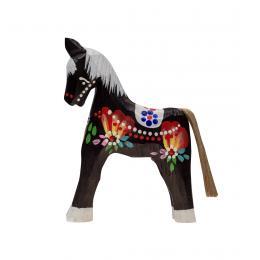 Tradycyjna zabawka ludowa - ręcznie rzeźbiony konik - średni - czarny