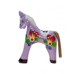 Tradycyjna zabawka ludowa - ręcznie rzeźbiony konik - średni - fioletowy