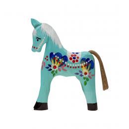 Tradycyjna zabawka ludowa - ręcznie rzeźbiony konik - średni - niebieski