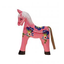 Tradycyjna zabawka ludowa - ręcznie rzeźbiony konik - średni - różowy