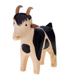 Tradycyjna zabawka ludowa - wiejska zagroda - drewniana kózka łaciata