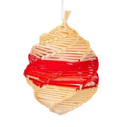 Tradycyjne ozdoby ze słomy   bombka czerwona