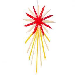 Tradycyjne ozdoby ze słomy   gwiazda betlejemska czerwono-żółta
