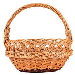 Tradycyjny pleciony wiklinowy koszyczek wielkanocny - okrągły - duży